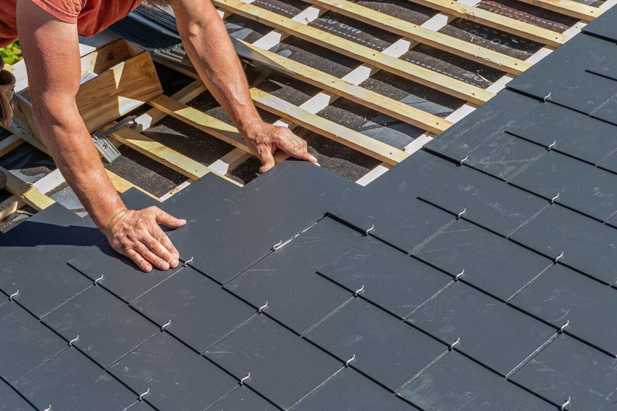 roofer installing a slate roof